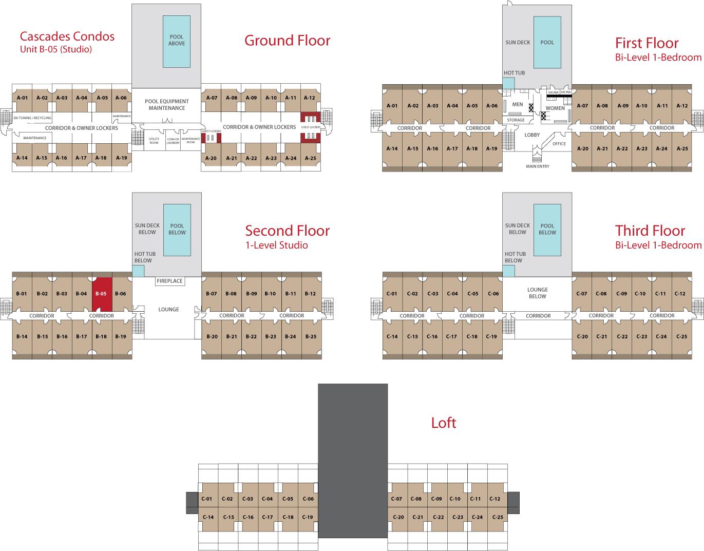 Floor Plan for Sunday River Condo - Cascades B-05