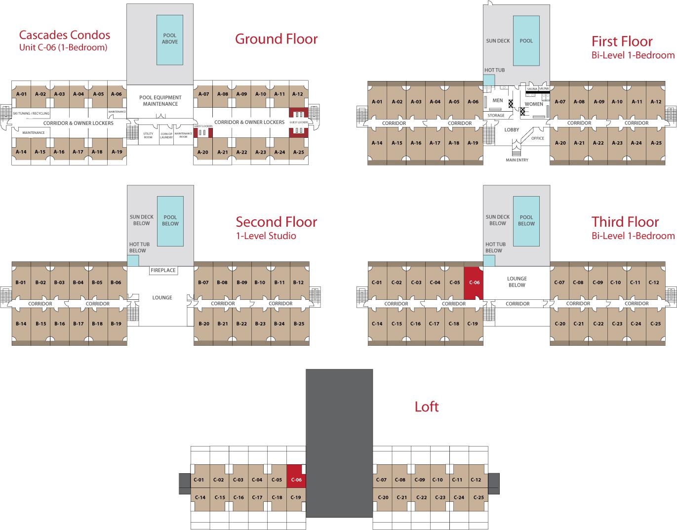 Floor Plan for Sunday River Condo - Cascades C-06