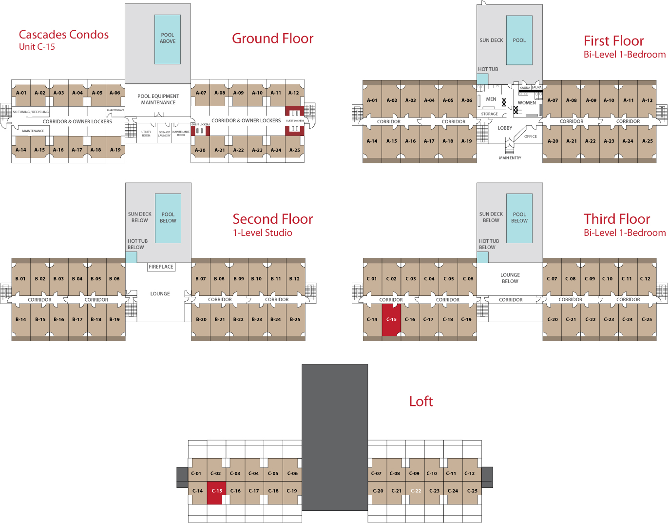 Floor Plan for  Sunday River Condo - Cascades C-15