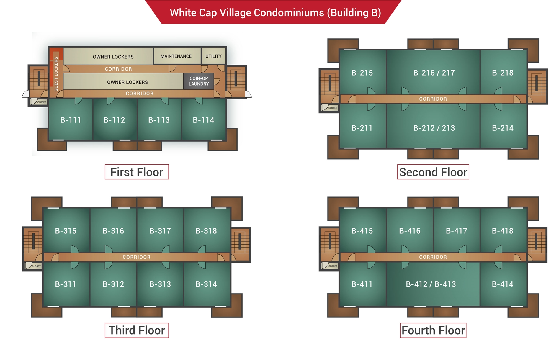 Floor Plan for White Cap B-216/217 - Sunday River Condo