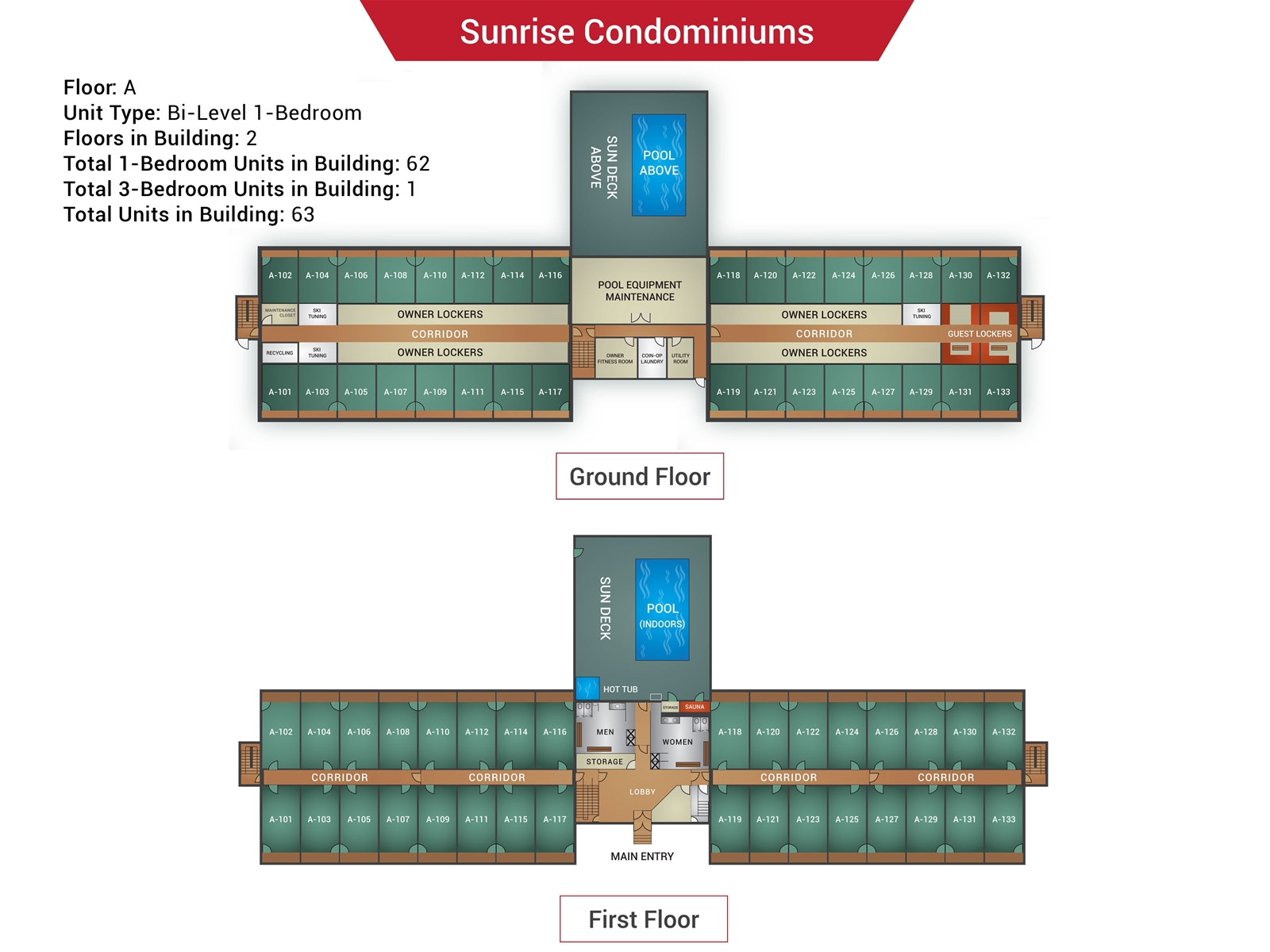 Floor Plan for Sunrise A-133 - Sunday River Condo
