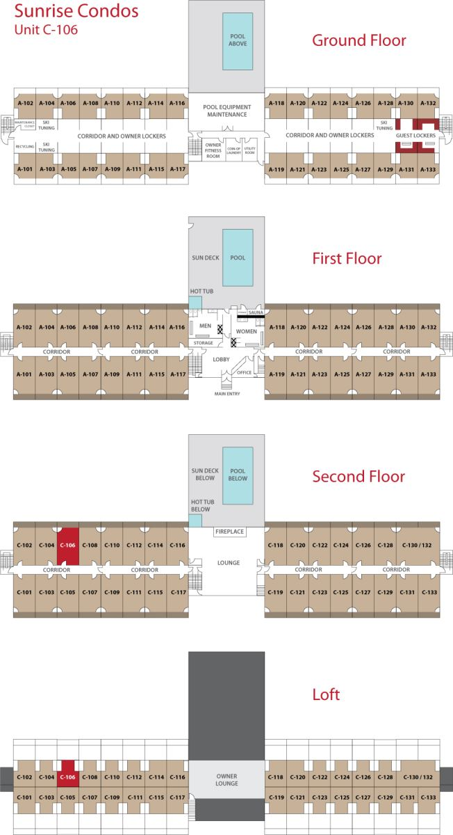 Floor Plan for Sunday River Condo - Sunrise C-106