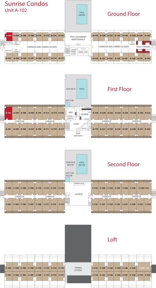 Floor Plan for Sunday River Condo - Sunrise A-102
