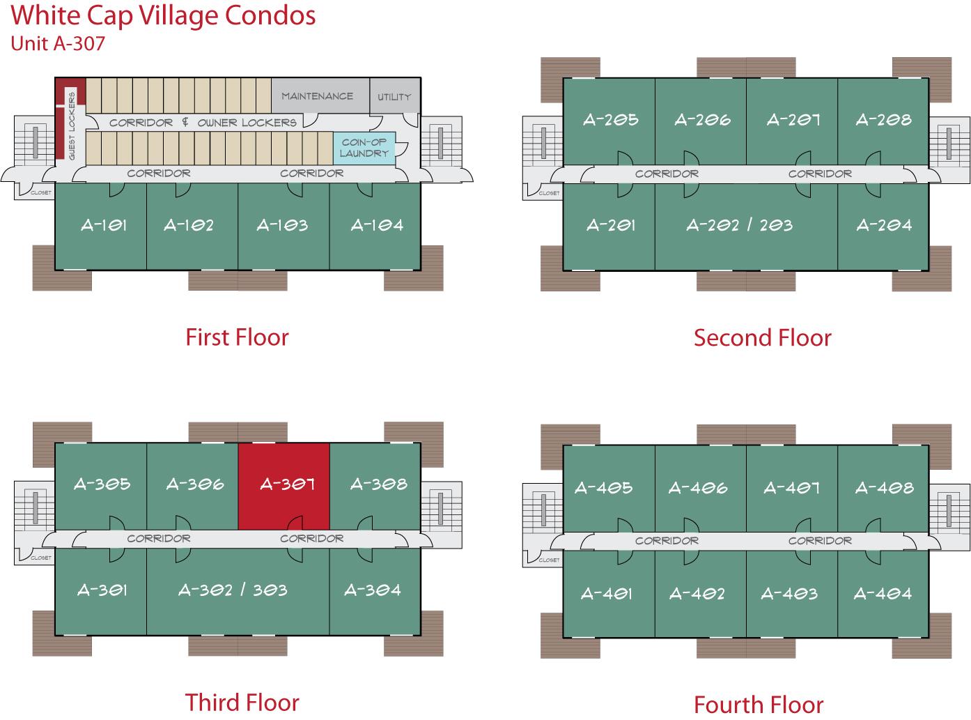 Floor Plan for Sunday River Condo - White Cap A-307