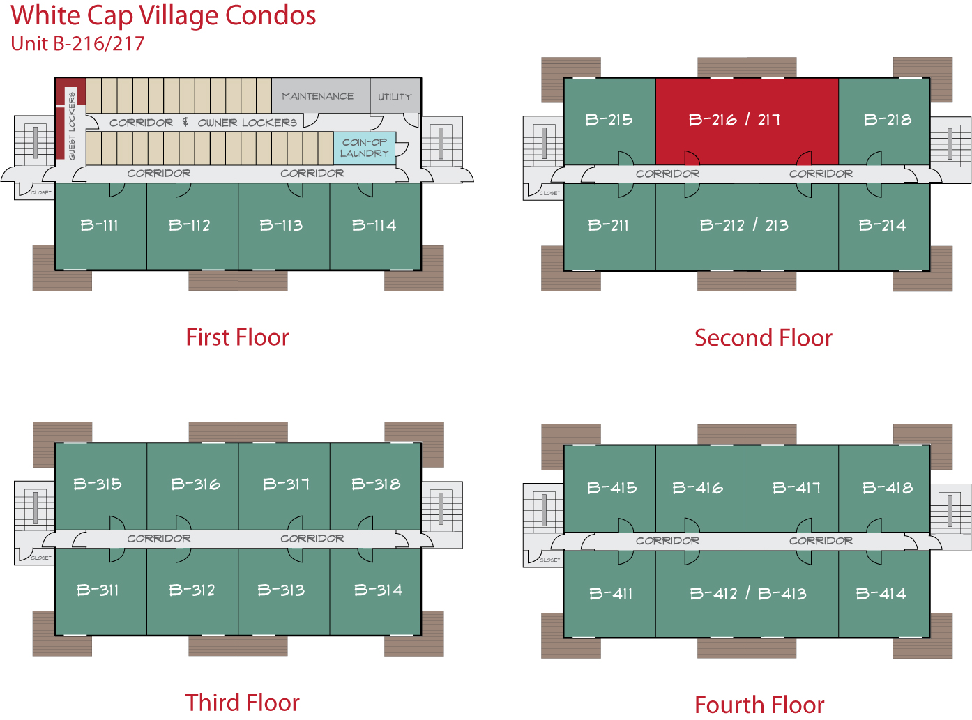 Floor Plan for Sunday River Condo - White Cap B-216/217