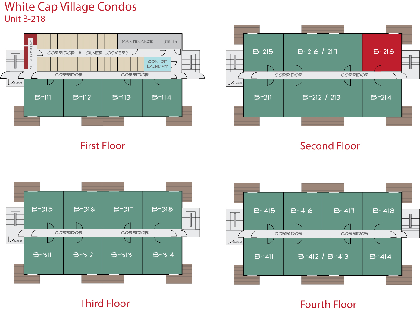 Floor Plan for Sunday River Condo - White Cap B-218