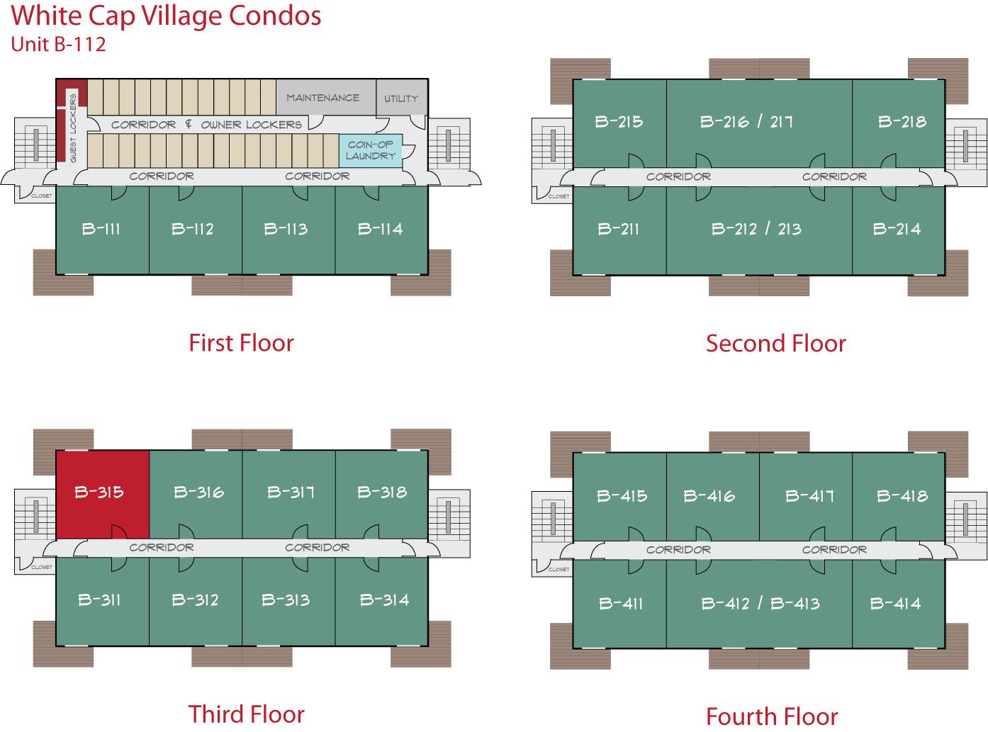 Floor Plan for Sunday River Condo - White Cap B-315