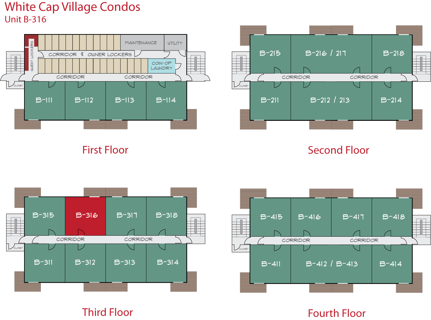 Floor Plan for Sunday River Condo - White Cap B-316