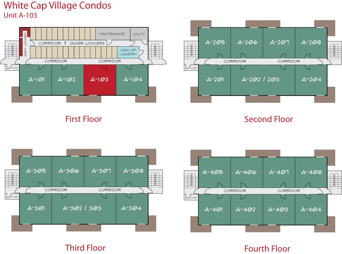 Floor Plan for Sunday River Condo - White Cap A-103