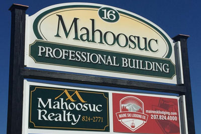 Maine Ski Lodging Co. property management sign
